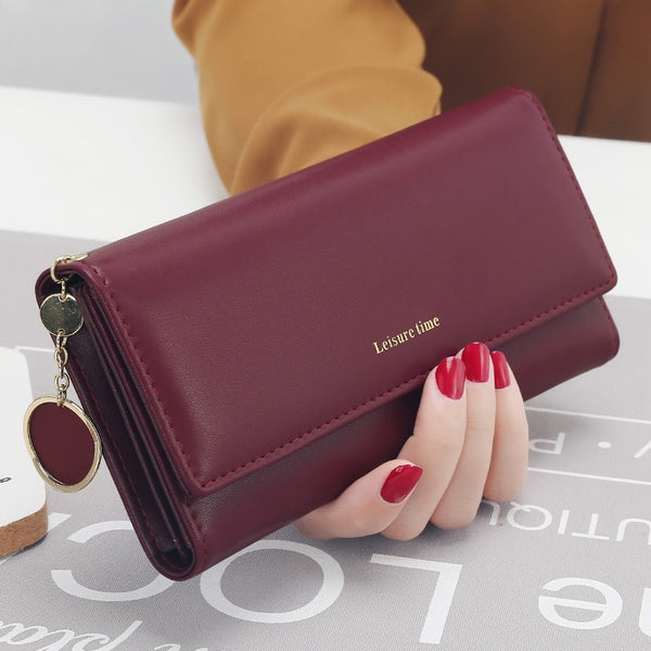 Burgundy - New Fashion Women Wallets Long Style Multi-functional wallet Purse Fresh PU leather Female Clutch Card Holder