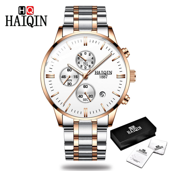 Gold-white - HAIQIN Men's watches Fashion Mens watches top brand luxury/Sport/military/Gold/quartz/wrist watch men clock relogio masculino