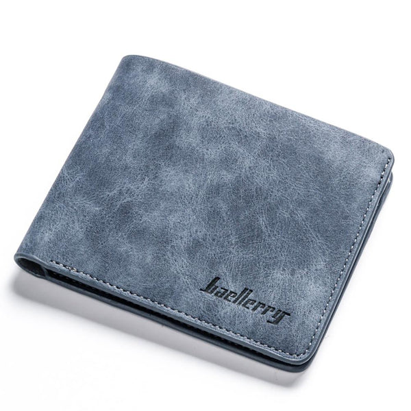 Blue - banabanma Men Retro Frosted PU Wallet Two Folding Male Purse Credit Card Holder Solid Color Short Wallet purse and wallet ZK30