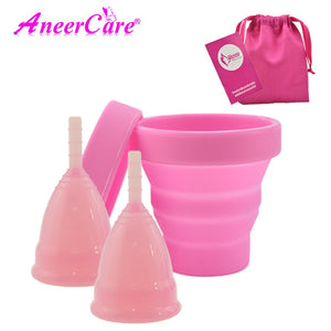 [variant_title] - Hot Sale Vaginal Menstrual Cup and Sterilizer Cup Sterilizing Collapsible Cups Flexible to Clean Recyclable Camping Foldable Cup