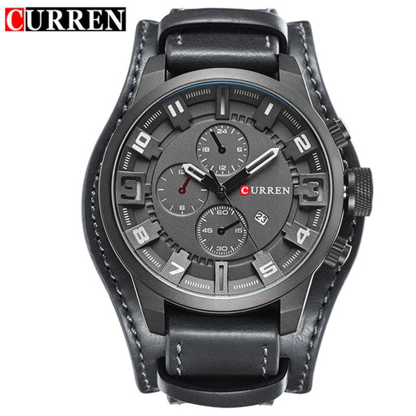 black gray - Curren 8225 Army Military Quartz Mens Watches Top Brand Luxury Leather Men Watch Casual Sport Male Clock Watch Relogio Masculino