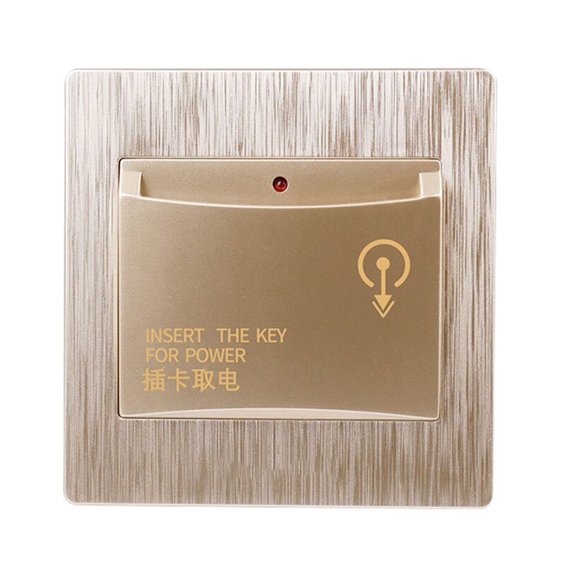 Champagne gold - 86X86mm high-end hotel smart card power switch 220V / 40A insert key for power supply