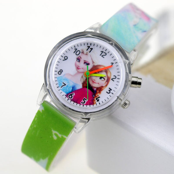 Girl Green Flash - Princess Elsa Children Watches Spiderman Colorful Light Source Boys Watch Girls Kids Party Gift Clock Wrist Relogio Feminino