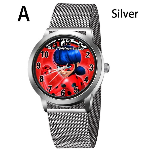 A-SILVER - New arrive Miraculous Ladybug Watches Children Kids gift Watch Casual Quartz Wristwatch fashion leather watch Relogio Relojes