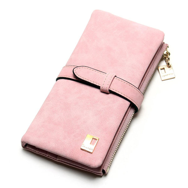 Pink - 2019 New Fashion Women Wallets Drawstring Nubuck Leather Zipper Wallet Women's Long Design Purse Two Fold More Color Clutch