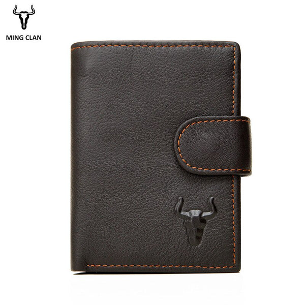 Coffee - Mingclan Men Wallet Crazy Horse Original Leather Male Wallets Rfid Blocking Coin Purse Flip ID Credit Card Holder Hidden Pocket