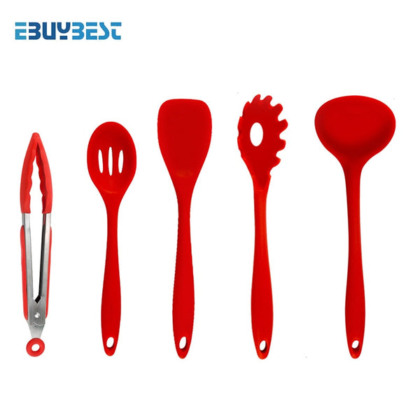 5pcs Red color - 5pcs  10pcs Cooking Tools Silicone Kitchen Utensils Spatula Spoon Tongs Ladle Spaghetti Server Slotted Turner Kitchen Tools Set