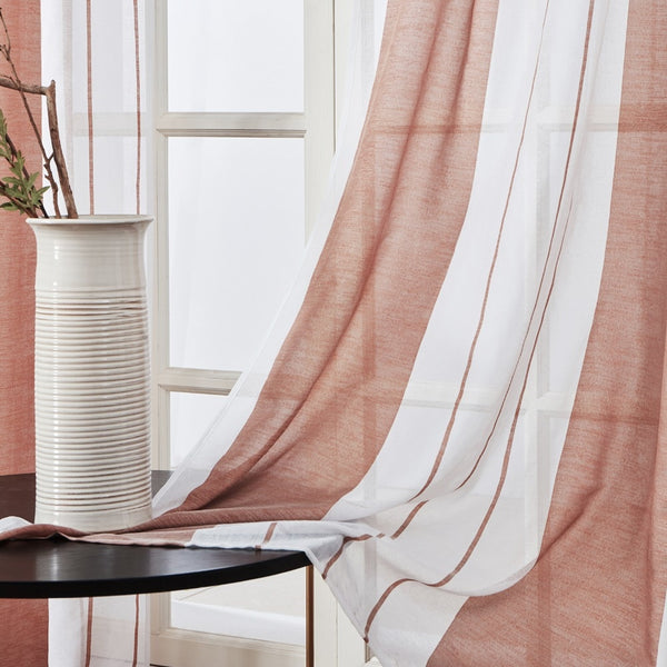 [variant_title] - Topfinel Gray Semi Voile Sheer Curtains Drapes for Bedroom Kitchen Living Room Stripe Gradient Home Decortive Tulle on Windows