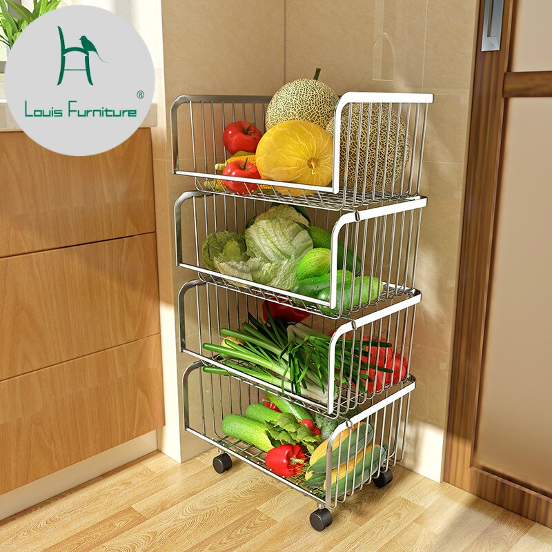 [variant_title] - Louis Fashion Cart 304 Stainless Steel Kitchen Vegetable Fruit Basket Rack Floor Multi Layer Fruits and Vegetables