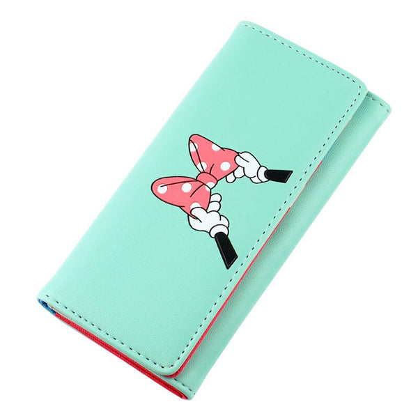 lightgreen - BOTUSI Mickey Bow Lady Purses Handbags Brand Design Women Wallets PU Leather Money Coin Purse Cards ID Holder Cartoon Printing