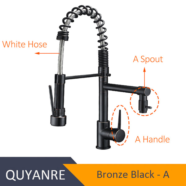 ORB JIAN BAI - Blackend Spring Kitchen Faucet Pull out Side Sprayer Dual Spout Single Handle Mixer Tap Sink Faucet 360 Rotation Kitchen Faucets