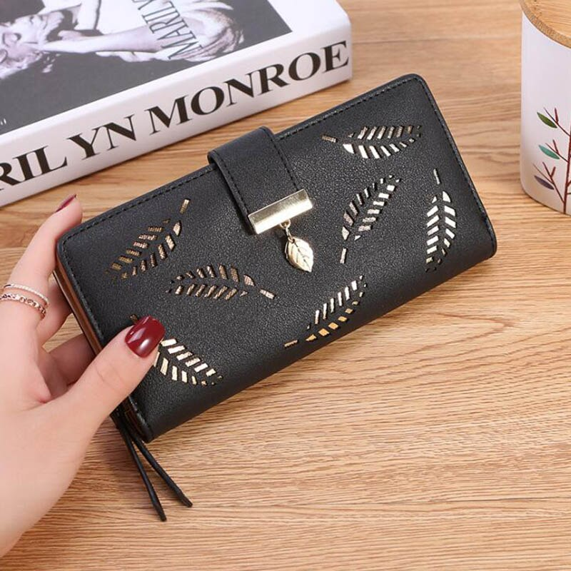Black - Women Wallet PU Leather Purse Female Long Wallet Gold Hollow Leaves Pouch Handbag For Women Coin Purse Card Holders Clutch