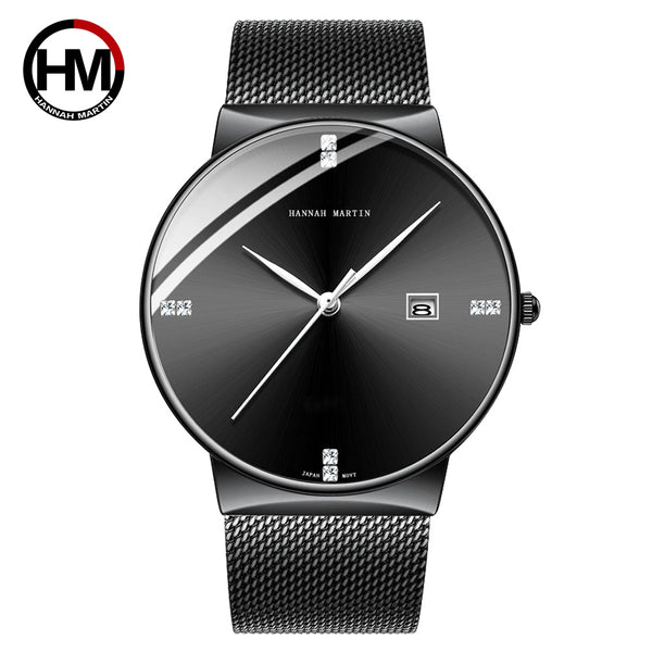 HM-901-H-WYH - Men Watch Stainless Steel Classical Business Waterproof Top Brand luxury Quartz Movement Wristwatches Calendar relogio masculino