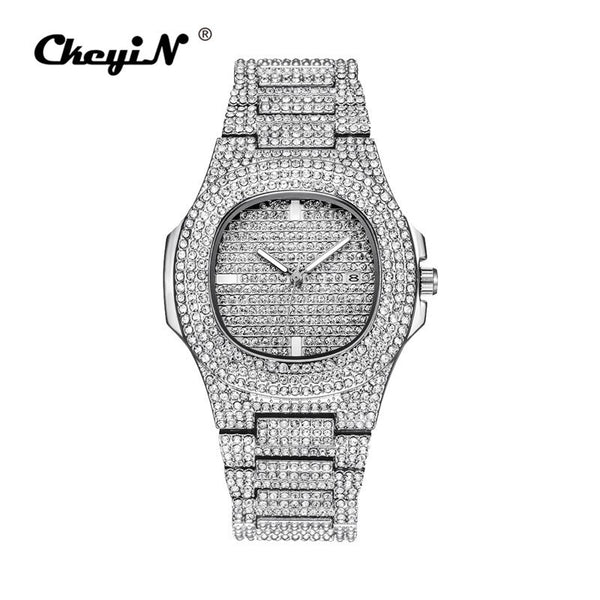 Silver - Men Watch Sliver Rose Gold Mens Watches Top Brand Luxury Diamond Stainless Steel Quartz Wristwatch Dress Business Date Clock 45