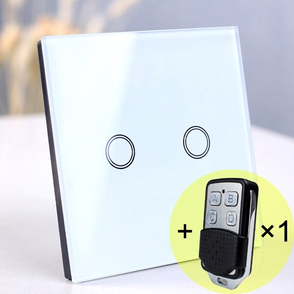 2 gang White Remote - EU/UK Standard Touch Switch, Wall Light Touch Screen Switch, wireless Remote control Wall touch switch , 2 gang gray AC130~250V