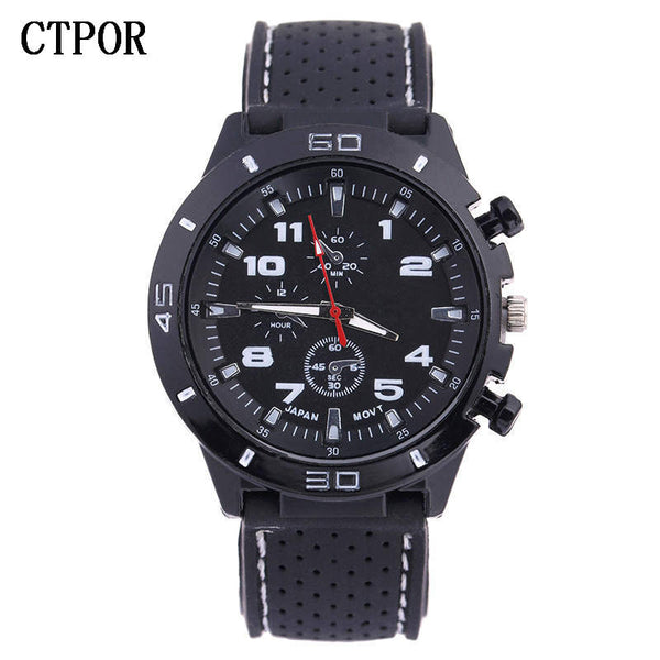 black - 9-18 years Old Sports Children's Watch Military Sports Car Style Man Watches Silicone Wristwatch Child Student Clock Kids Boy WA