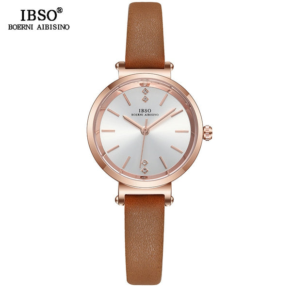 Brown - IBSO 8 MM Ultra-Thin Wrist Women Watches Luxury Female Clock Fashion Montre Femme 2019 Quartz Ladies Watch Relogio Feminino