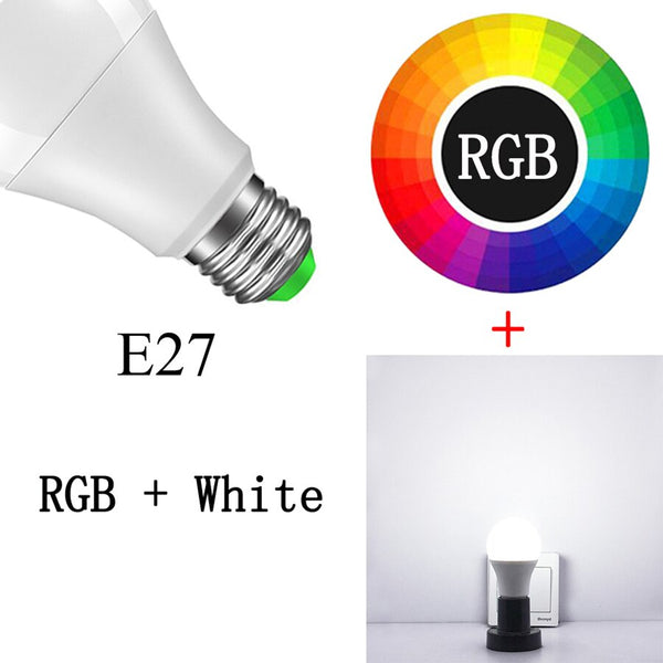 E27 RGBW - Newest 15W RGB Bluetooth Smart LED Bulb E27 Dimmable B22 RGBW RGBWW LED Bulb Music Voice Control Smart Light Lamp for Home Decor