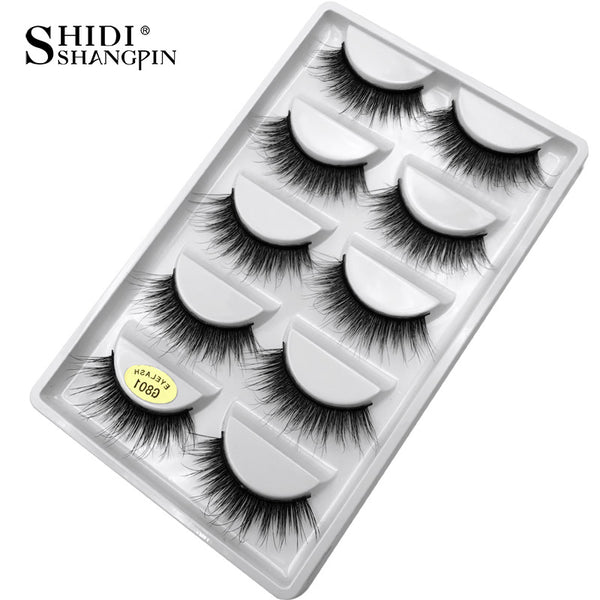 G801 - 5 pairs false eyelashes natural 3D mink lashes makeup eyelash extension long mink eyelashes volume fake eye lashes cilio russian