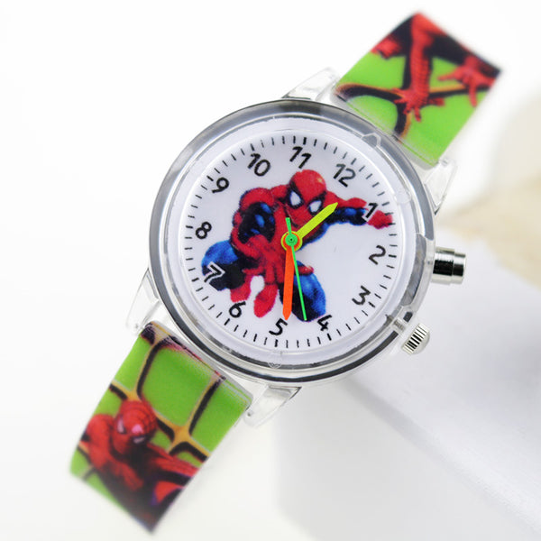 Boy Green Flash - Princess Elsa Children Watches Spiderman Colorful Light Source Boys Watch Girls Kids Party Gift Clock Wrist Relogio Feminino