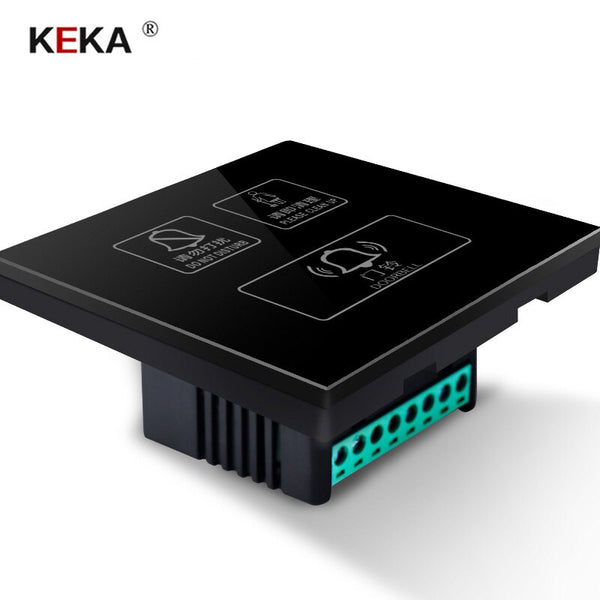 Black / 220V - KEKA Hotel Switch smart wall touch switch 3 Gang Do not disturb,Clean up,doorbell switch  Crystal Glass Panel AC220-250V