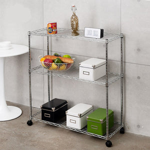 [variant_title] - Stainless steel movable shelves  Household kitchen storage shelves 3 layers Bathroom Shelves