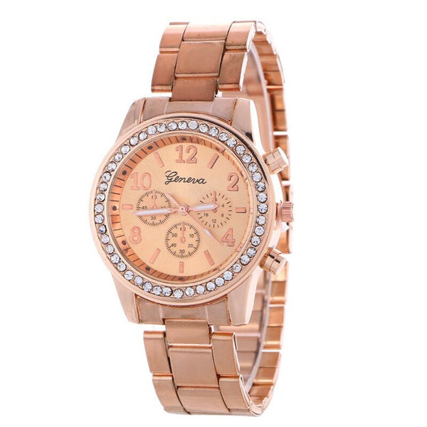 Rose Gold - 2019 Fashion Dress Watches Women Men Faux Chronograph Quartz Plated Classic Round Crystals Watch relogio masculino Casual Clock