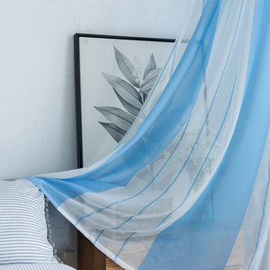 Blue / 1 pcs W100cmxH130cm / 2.Grommet - Topfinel Gray Semi Voile Sheer Curtains Drapes for Bedroom Kitchen Living Room Stripe Gradient Home Decortive Tulle on Windows