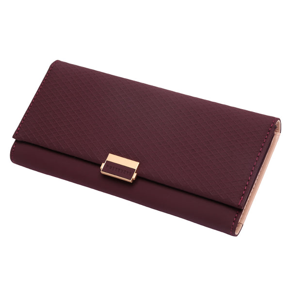 Burgundy - Woman Wallet Clutch Plaid Wallet Zipper Female Ladies Hot Change Women Luxury Credit Phone Card Holder Coin Purses For Girls