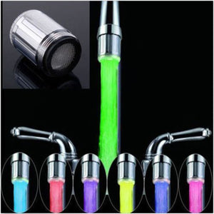 Default Title - LED Water Faucet Stream Light 7 Colors Changing Glow Shower Stream Tap Head Pressure Sensor Bathroom Temperature Recognition