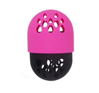 Pink - Soft Silicone Powder Puff Drying Holder Egg Stand Beauty Pad Makeup Sponge Display Rack Cosmetic Blender Sponge Case Puff Holder