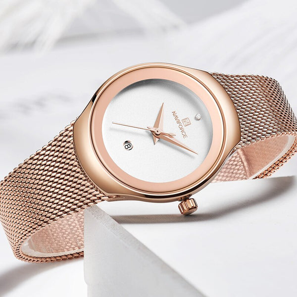 [variant_title] - NAVIFORCE Watch Women Fashion Dress Quartz Watches Lady Stainless Steel Waterproof Wristwatch Simple Girl Clock Relogio Feminino
