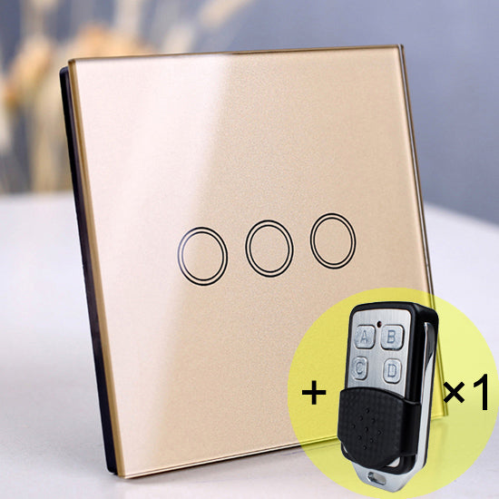 3 gang Gold Remote - EU/UK Standard Touch Switch, Wall Light Touch Screen Switch, wireless Remote control Wall touch switch , 2 gang gray AC130~250V