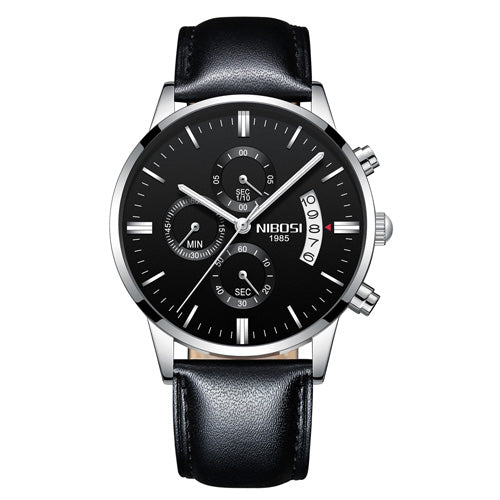 Silver Black Leather - NIBOSI Relogio Masculino Men Watches Luxury Famous Top Brand Men's Fashion Casual Dress Watch Military Quartz Wristwatches Saat