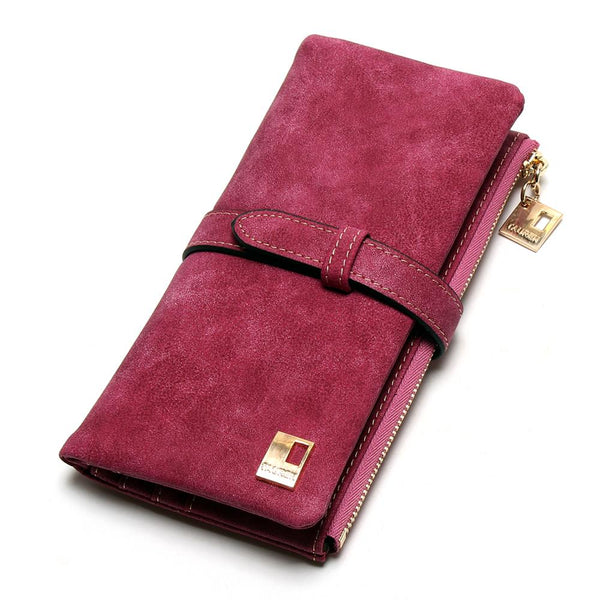 rose red - 2019 New Fashion Women Wallets Drawstring Nubuck Leather Zipper Wallet Women's Long Design Purse Two Fold More Color Clutch