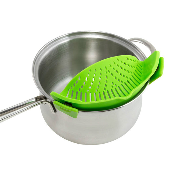 [variant_title] - Silicone Colanders Kitchen Clip On Pot Strainer Drainer For Draining Liquid Univers Draining Pasta Vegetable Tool DropShipping