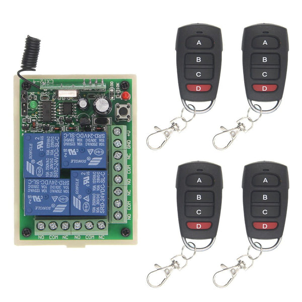 4 / 12V / 315 MHz - DC 12V 24V 4 Channel 4CH RF Wireless Remote Control Switch System Receiver + Transmitter, 315 433 MHz
