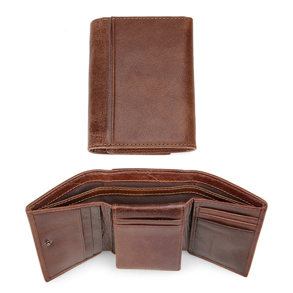 coffee 1 - RFID Wallet Antitheft Scanning Leather Wallet Hasp Leisure Men's Slim Leather Mini Wallet Case Credit Card Trifold Purse