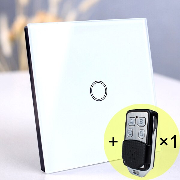 1 gang White Remote - EU/UK Standard Touch Switch, Wall Light Touch Screen Switch, wireless Remote control Wall touch switch , 2 gang gray AC130~250V