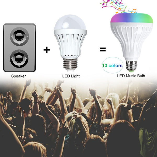 [variant_title] - Smart E27 RGB Bluetooth Speaker LED Bulb Light 12W Music Playing Dimmable Wireless Led Lamp with 24 Keys Remote Control #35