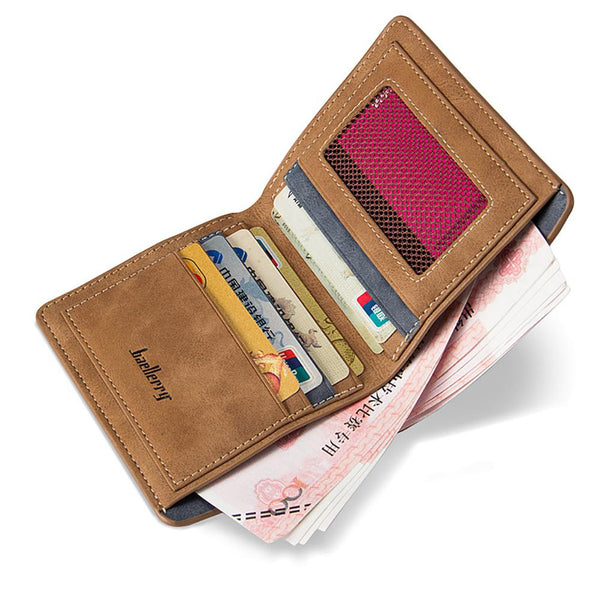 [variant_title] - banabanma Men Retro Frosted PU Wallet Two Folding Male Purse Credit Card Holder Solid Color Short Wallet purse and wallet ZK30