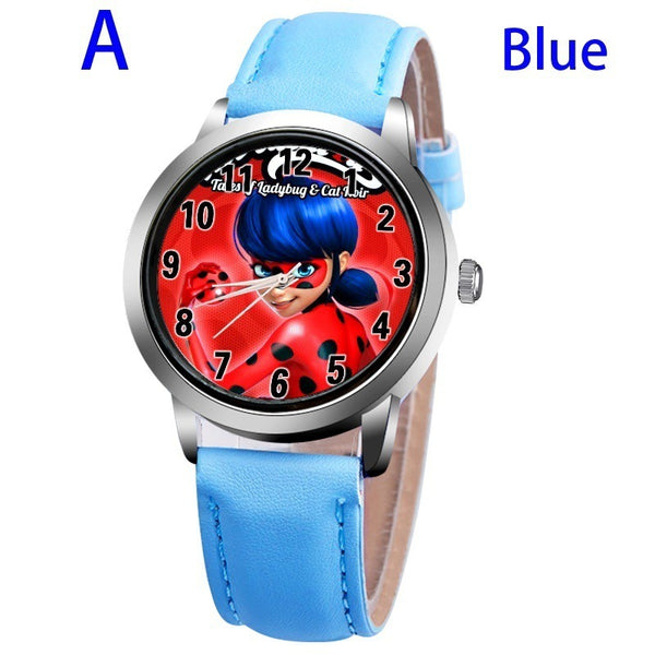 A-BLUE - New arrive Miraculous Ladybug Watches Children Kids gift Watch Casual Quartz Wristwatch fashion leather watch Relogio Relojes