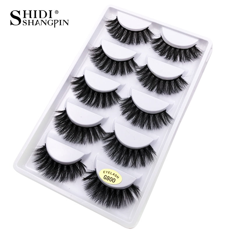 G800 - 5 pairs false eyelashes natural 3D mink lashes makeup eyelash extension long mink eyelashes volume fake eye lashes cilio russian