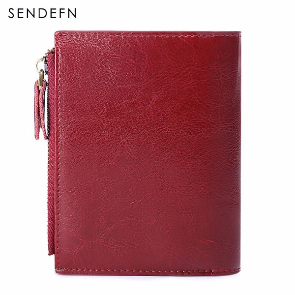 [variant_title] - SENDEFN Women's Wallet Leather Small Luxury Brand Wallet Women Short Zipper Ladies Coin Purse Card Holder Femme Red/Blue 5191-69