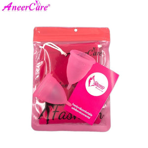 [variant_title] - Coletor Menstrual 2Pcs Medical Grade Silicone Hygiene Menstrual Cups Lady Menstrual Cup Mestrual Aneercare Coupe Menstruell S+L