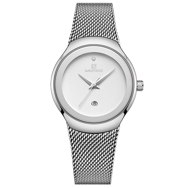Silver White - NAVIFORCE Watch Women Fashion Dress Quartz Watches Lady Stainless Steel Waterproof Wristwatch Simple Girl Clock Relogio Feminino