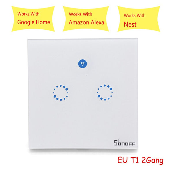 [variant_title] - Sonoff T1 EU Smart Wifi Wall Touch Light Switch 1/2 Gang Touch / WiFi / 433 RF / APP Remote Control Smart Home Work with Google