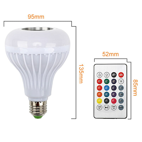 [variant_title] - E27 LED Bulb 12W RGB Music Playing Dimmable Wireless Bluetooth Bulb Colorful Audio Speaker Light Lamp with 24 Key Remote Control