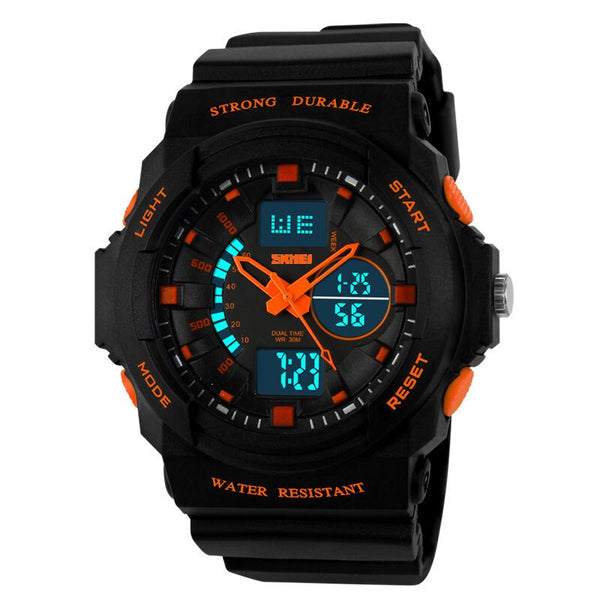 Orange - SKMEI Shock Resistant Watches Waterproof Men Women Kids Outdoor Sport Timing Watch Multifunction Children Fashion Wristwatches