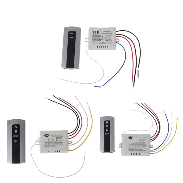 [variant_title] - Wireless 1 Channel 2 Channel 3 Channel ON/OFF Lamp Remote Control Switch Receiver Transmitter Drop Ship